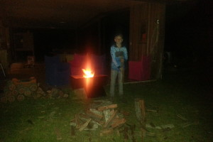 Chopping firewood for our private retreats